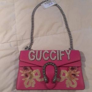GUCCI Pebbled Calfskin Embellished Guccify Small